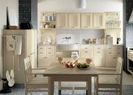 kitchen room cool white wall color floor tiles brown wooden