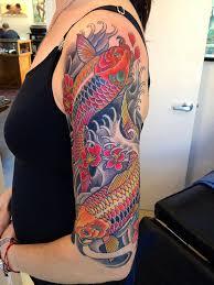 koi fish tattoo by adam sky rose gold tattoo san francisco ca