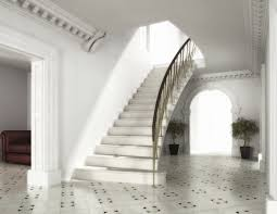 luxury straight staircase with landing decor combined white stone