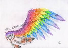 rainbow wing tattoo sketch by xclarxcheex on deviantart