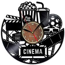 cinema and popcorn vinyl record clock game room wall decor by
