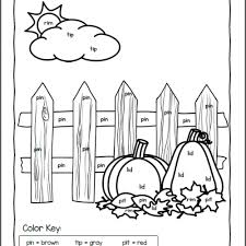 fall color by cvc word worksheets mamas learning corner