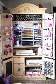 diy craft armoire with fold out table interior craft armoire