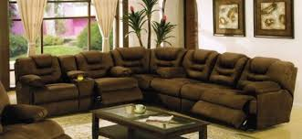Sectional Recliner Sofas Sectional Recliner Sofa With Cup Holders In Chocolate Microfiber