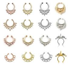 gold piercing rings images Hotselling varied crystal fake nose rings and studs rose gold jpg
