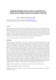 research objectives and overview of wireless technologies in