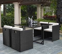Outdoor Wicker Patio Furniture Sets 5 Rattan Cube Garden Furniture Set W Stowaway Chairs
