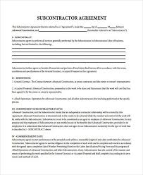 sample subcontractor contract forms 7 free documents in word pdf
