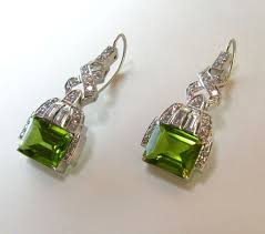 peridot earrings deco platinum peridot earrings from exquisitegems on