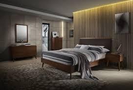 marshall mid century modern brown fabric u0026 walnut bedroom set
