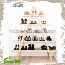 custom ladder wood shoes store design stand handmade led light