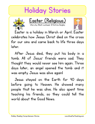 christian easter reading comprehension worksheet