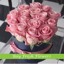 flowers in a box pink roses in a hat box with a ribbon buy in vancouver fresh