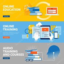 design online education set of flat line design web banners for online education online
