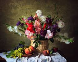 flowers and fruit still with flowers and fruit garden by daykiney on deviantart