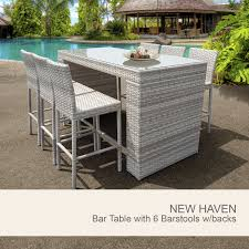 Patio Furniture Pub Table Sets - 7 piece wicker bar setting white outdoor wicker bar set