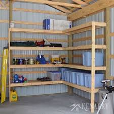 diy corner shelves for garage or pole barn storage