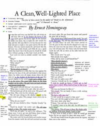 hemingway a clean well lighted place a clean well lighted place essay english class students demonstrate