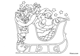 santa in a sleigh coloring page eson me