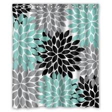 Turquoise And Grey Shower Curtain The Teal Shower Curtain Would Be Good For The Bathroom Because It
