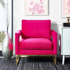 fuschia chair modern mauve velvet gold legs lounge chair