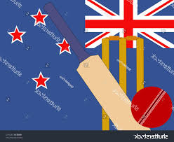 New Zealabd Flag Top 10 Stock Vector Cricket Bat And Stumps With New Zealand Flag