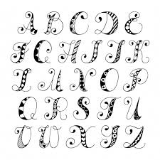 sketch hand drawn alphabet black and white font letters isolated