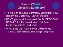 central idea and objective summary central u201cmain u201d idea and detail