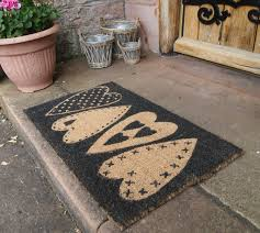 decorating curved chevron coir doormat on cozy unilock pavers for