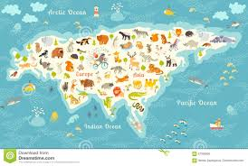 Ocean Map World by World Map Vector Illustration With The Inscription Of The Oceans