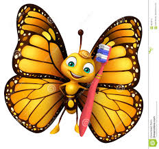 fun butterfly cartoon character with tooth brush stock