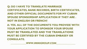 do i have to translate cuban documents for my spouse sponsorship