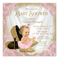 pink gold baby shower girl shoe pink gold glitter pearl baby shower invitation ladyprints