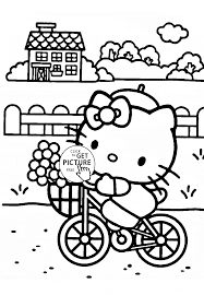 hello kitty rides a bicycle coloring page for kids for girls