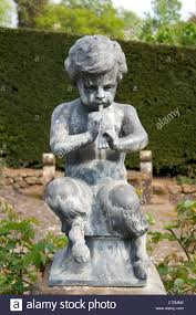 statue pan piper boy flute bronze carving ornament garden pedestal