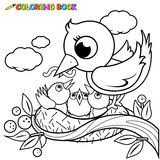 circle shape pattern cute birds coloring book stock