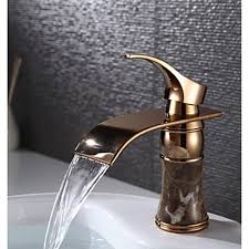 handle deck mounted rose gold brass waterfall bathroom sink faucet