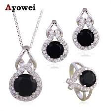 silver earrings necklace images Mysterious fashion jewelry set black onyx silver stamped cubic jpeg