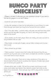 bunco party bunco party checklist