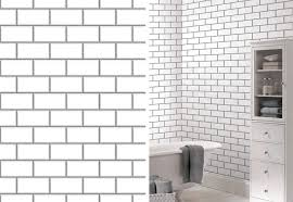 Tile Wallpaper Ceramica New York Subway Tile Brick Effect Wallpaper White By