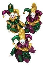 mardi gras doll x 3in wide purple green gold mardi gras magnet doll
