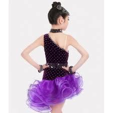 violet purple velvet rhinestones competition girls latin dance