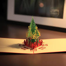 christmas cards sale hot sale creative kirigami origami 3d pop up greeting gift