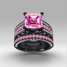 black and pink wedding rings pink and white cubic zirconia asscher cut engagement ring 925