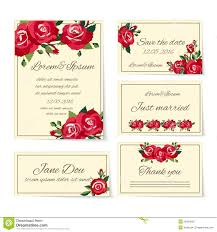 Images For Wedding Invitation Cards Set Of Wedding Invitation Cards With Roses Stock Vector Image