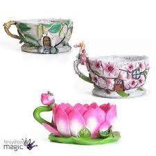 Lotus Flower Tea - fiddlehead fairy tea cup mug planter cherry blossom lotus flower