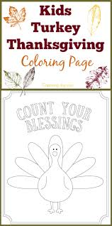 kids turkey thanksgiving coloring count blessings