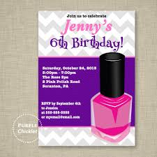 spa birthday invitation nail polish mani pedi sleepover invite