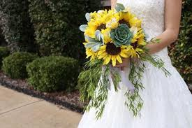 Sunflower Wedding Bouquet Sunflower Bridal Bouquet Sunflower Yellow Grey White Wedding