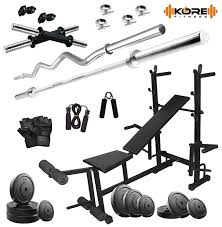 bodyfit 8 in 1 home gym package box pack bench 50kg weight set